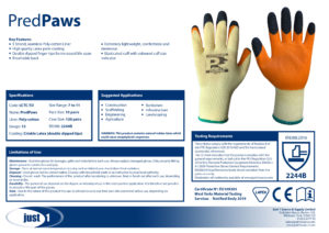 Pred Paws LCTC-TD Grip Glove Specification Data Sheet